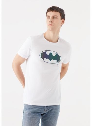 Mavi Batman Baskılı  Tişört Beyaz